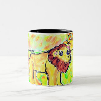 Lion with light Two-Tone coffee mug