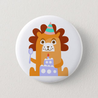 Lion With Party Attributes Girly Stylized Funky 6 Cm Round Badge