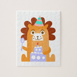 Lion With Party Attributes Girly Stylized Funky Jigsaw Puzzle