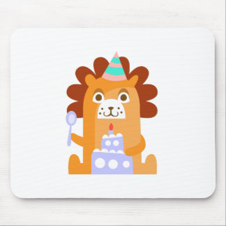 Lion With Party Attributes Girly Stylized Funky Mouse Pad
