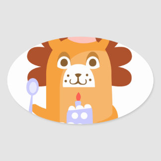 Lion With Party Attributes Girly Stylized Funky Oval Sticker