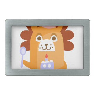 Lion With Party Attributes Girly Stylized Funky Rectangular Belt Buckle