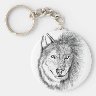 Lion Wolf Basic Round Button Key Ring