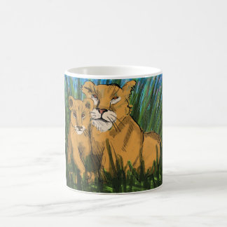 Lioness and Cub Print Coffee Mug