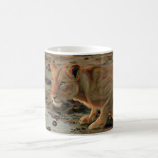 Lioness at watering hole coffee mug