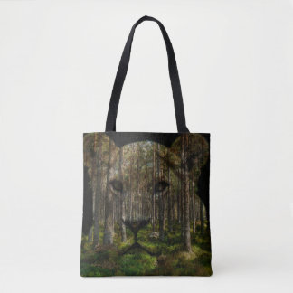 Lioness forest merge tote bag