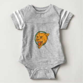 Lioness Growling Ring Leaves Tattoo Baby Bodysuit