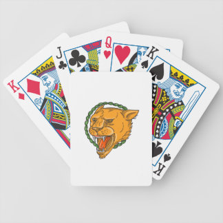 Lioness Growling Ring Leaves Tattoo Bicycle Playing Cards