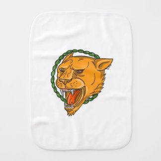 Lioness Growling Ring Leaves Tattoo Burp Cloth