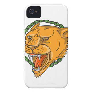 Lioness Growling Ring Leaves Tattoo Case-Mate iPhone 4 Cases