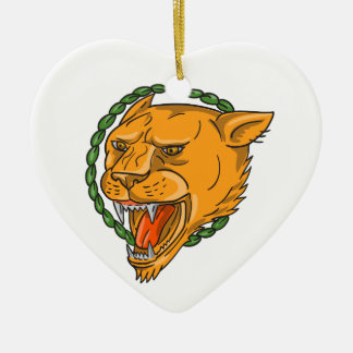 Lioness Growling Ring Leaves Tattoo Ceramic Ornament
