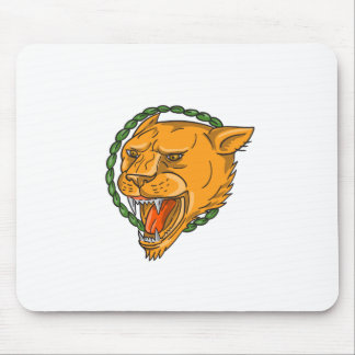 Lioness Growling Ring Leaves Tattoo Mouse Pad