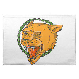 Lioness Growling Ring Leaves Tattoo Placemat