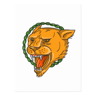 Lioness Growling Ring Leaves Tattoo Postcard