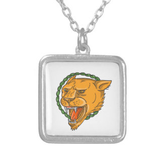 Lioness Growling Ring Leaves Tattoo Silver Plated Necklace