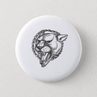 Lioness Growling Rope Circle Tattoo 6 Cm Round Badge