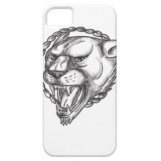 Lioness Growling Rope Circle Tattoo Barely There iPhone 5 Case