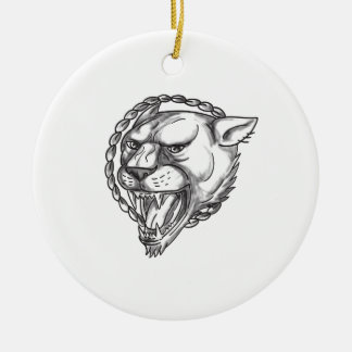 Lioness Growling Rope Circle Tattoo Ceramic Ornament