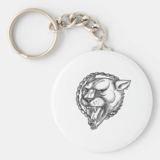 Lioness Growling Rope Circle Tattoo Key Ring