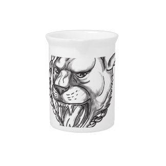 Lioness Growling Rope Circle Tattoo Pitcher