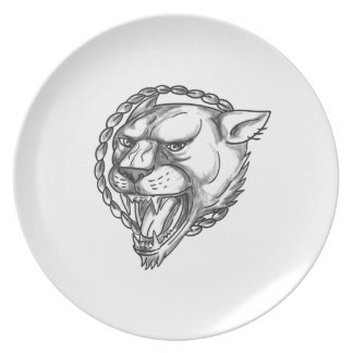 Lioness Growling Rope Circle Tattoo Plate