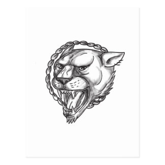 Lioness Growling Rope Circle Tattoo Postcard