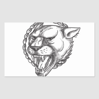 Lioness Growling Rope Circle Tattoo Rectangular Sticker