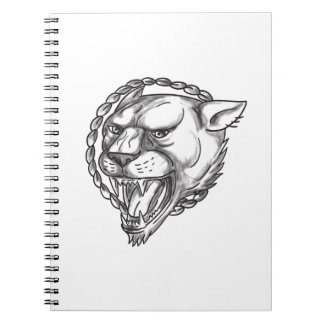 Lioness Growling Rope Circle Tattoo Spiral Notebook