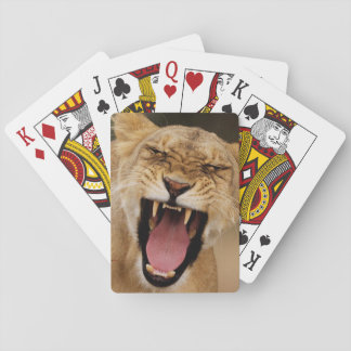 Lioness (Panthera Leo) Growling With Cub Poker Deck