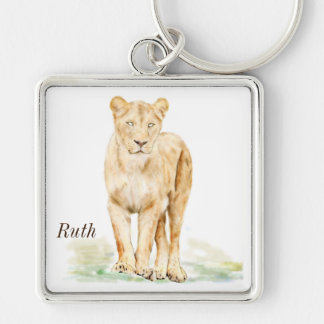 Lioness Personalised Silver-Colored Square Key Ring