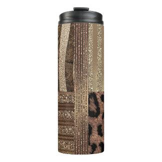 Lioness Safari Chic Jungle Gold Modern Sparkle Thermal Tumbler