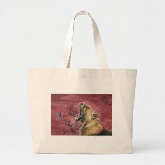 Lioness Yawn Large Tote Bag