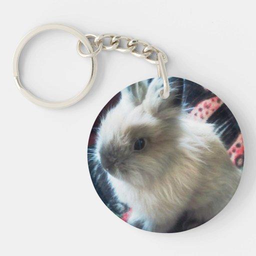 Lionhead Bunny Rabbit Keychain Round Acrylic Keychain