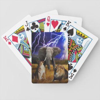 Lions and elephant in Africa Poker Deck