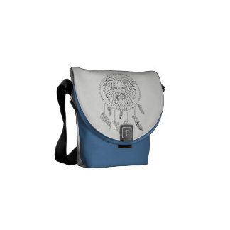 Lions face in dream catcher commuter bags