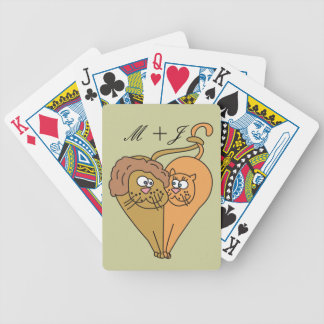 Lions in Love Personalized Monogram Playing Cards
