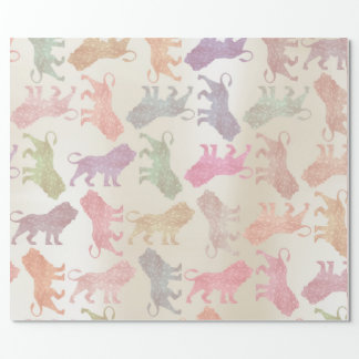 Lions Pink Rose Ivory Gold Metallic Mint Peach Wrapping Paper