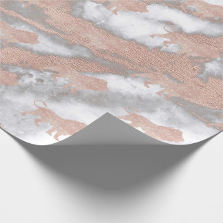 Lions Pink Rose Rose Gold Metallic Marble Gray Wrapping Paper