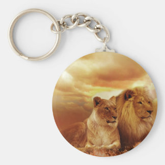 Lions relaxing in Africa Basic Round Button Key Ring