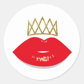 Lip Boss Red Lips & Gold Crown Classic Round Sticker