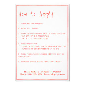 Lip colors distributor application instructions card