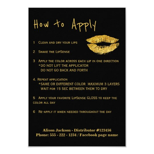 Lip colours distributor application instructions card