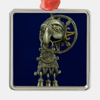 Lip plug of bird god Silver-Colored square decoration