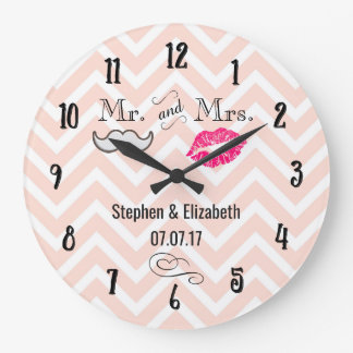 Lips and Moustache on Peach Chevron Wedding Clocks