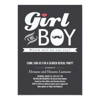 Lips and Mustache Baby Gender Reveal Party Invite