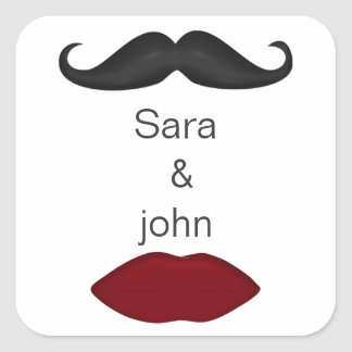lips and mustache mod wedding envelope seal square sticker