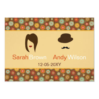 "lips and mustache retro floral  wedding thank you 5"" x 7"" invitation card"