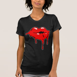 Lips Drip Ladies Twofer Sheer (Fitted) T-shirt