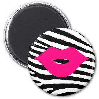 Lips kiss fashion glamour beauty trendy zebra magnet