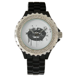 Lips kiss fashion glamour trendy chic black white watch